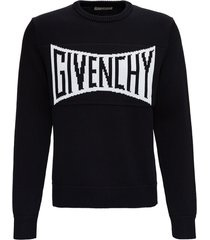 givenchy black jersey sweater with front logo