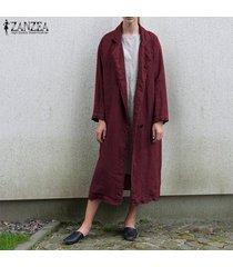 zanzea mujeres manga larga chaqueta de la capa de algodón rompevientos abrigo cardigan -rojo