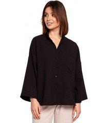 overhemd be b191 oversized shirt met kraag - zwart