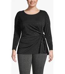 lane bryant women's gold dotted tie-front tunic top 26/28 black