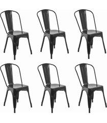 conjunto 06 cadeiras iron preta rivatti - preto - dafiti
