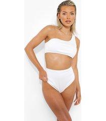geribbelde bikini top met eén blote schouder, white