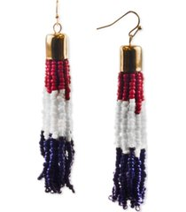 holiday lane gold-tone red, white & blue seed bead tassel drop earrings, created for macy's