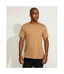 camiseta masculina manga curta básica gola careca marrom claro