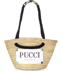 emilio pucci burnt & natural straw tote bag