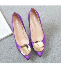 pp413 elegant high-heeled pump w gold plate top, us size 1-9.5, violet