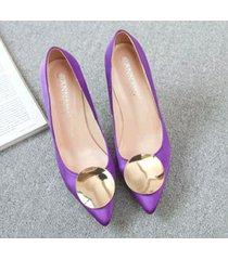 pp413 elegant high-heeled pump w gold plate top, us size 1-9.5, violet