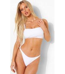 gekreukelde bikini top met vierkante hals en vollere cups, white