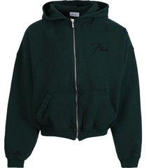 emerald green cotton zip hoodie
