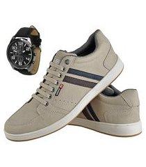 kit sapatênis casual exclusivo cr shoes com relógio bege