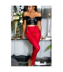 sexy hoge taille broek met knopen rood