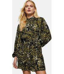 green leopard print frill shirt dress - green