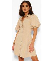 blouse jurk met pofmouwen en knoopjes, steenrood