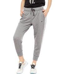 pantalón de buzo nike w nk dry flc get fit pt 7/8 x gris - calce regular