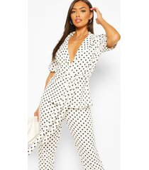 polka dot peplum blazer tailored suit set, white