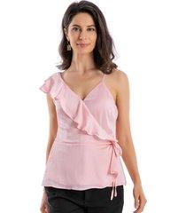 blusa envolvente vuelos rosa nicopoly
