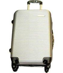 maleta fibra policarbonato mediana 24 pulgadas 4 ruedas - plateado