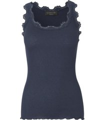 navy rosemunde silk top regular w/vintage lace singlet