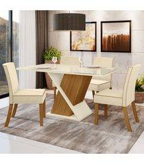 mesa de jantar 4 lugares luana nature/off white/linho - bci móveis