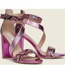 motivi sandali effetto metallizzato e stampa pitone donna rosa