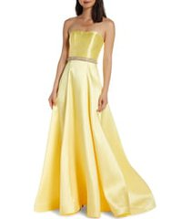 women's mac duggal strapless a-line prom dress with crystal embellished waist, size 0 - yellow