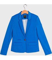 blazer io liso satinado azul - calce ajustado