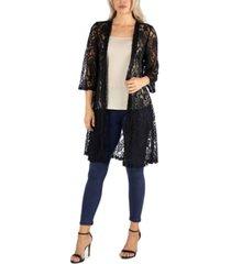24seven comfort apparel sheer black lace open front cardigan