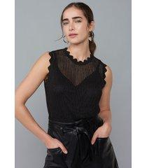 regata amaro de tricot com lurex deatlhe bordas preto - preto - feminino - dafiti