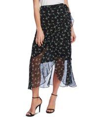 vince camuto floral-print faux-wrap skirt