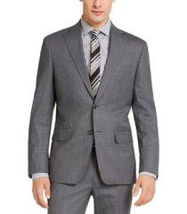 dkny men's slim-fit stretch light gray/blue suit jacket