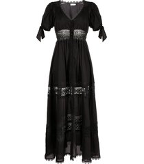 charo ruiz ibiza lace-trimmed poplin dress - black