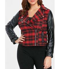 plus size plaid faux leather insert zippered jacket