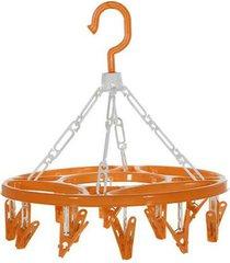 varal multiuso redondo com 15 prendedores laranja