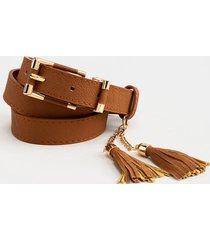women's celeste double tassel wrap belt in cognac by francesca's - size: l