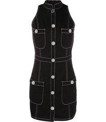 balmain denim mini dress - black