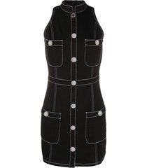 balmain denim mini dress - black