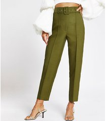 river island womens khaki belted peg trousers