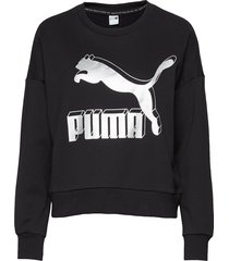classics logo metallic crew sweat-shirt tröja svart puma