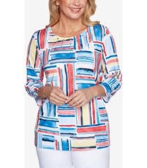 alfred dunner women's missy anchor's away etched patchwork top