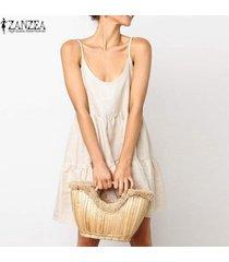 zanzea playa de las mujeres de verano slip vestido sin espalda bowknot de la camisa de vestido vestido de tirantes plus -caqui