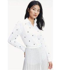 camisa con monogramas bordados blanco tommy hilfiger