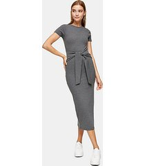 charcoal gray wide belted ribbed column dress - charcoal