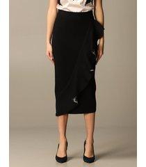 blumarine skirt blumarine pencil skirt with animalier rouches