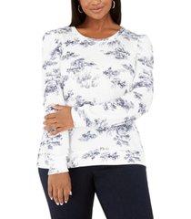 inc plus size printed puff-sleeve sweatshirt, created for macy's