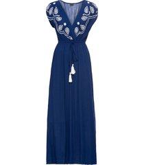 abito lungo ricamato (blu) - bodyflirt