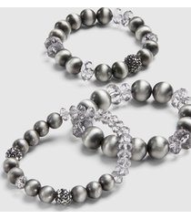 lane bryant women's 3-row beaded stretch bracelet set - gray onesz hematite