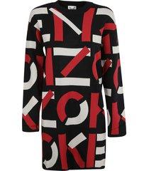 kenzo logo motif print dress
