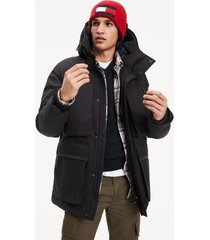 tommy hilfiger men's hooded canvas parka jet black - xs