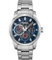 hugo men's #skeleton stainless steel bracelet watch 44mm