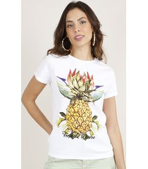 blusa feminina abacaxi manga curta decote redondo off white